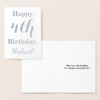 Simple Silver Foil 4th Birthday + Custom Name Foil Card