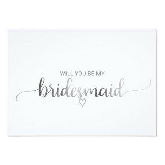 Simple Silver Foil Calligraphy Bridesmaid Proposal Invitation
