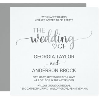 Simple Silver Foil Calligraphy Square Wedding Card