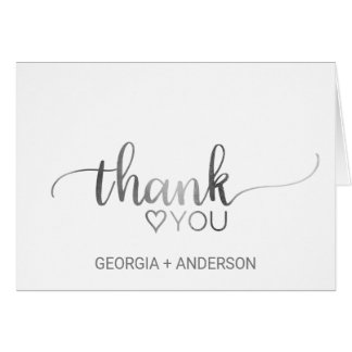 Simple Silver Foil Calligraphy Wedding Thank You Card