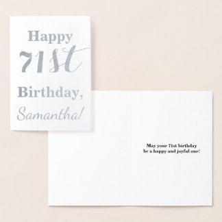 """Simple Silver Foil """"HAPPY 71st BIRTHDAY"""" + Name Foil Card"""