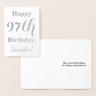 """Simple Silver Foil """"HAPPY 97th BIRTHDAY"""" + Name Foil Card"""