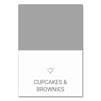 Simple Silver Foil Heart Food Tent Card