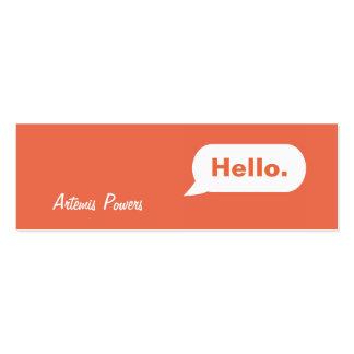 Simple Skinny IM Message Business Card orange