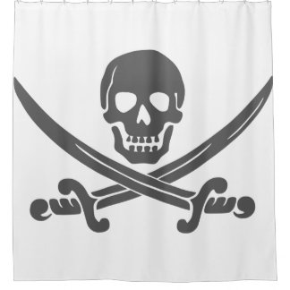 Simple Smiling Pirate Skull with Crossed Swords