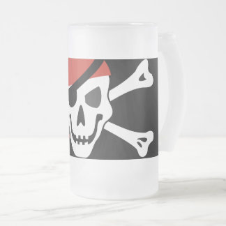 Simple Smiling Pirate Skull with Red Bandanna Frosted Glass Beer Mug