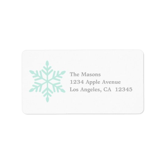 Simple Snowflake In Mint Label