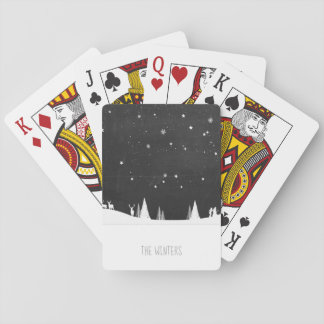 Simple Snowy Night Scene/Playing Cards/Deer & Tree Playing Cards