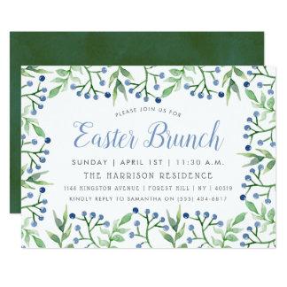 Simple Spring Blueberries Easter Brunch Card