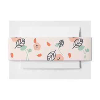 Simple Spring Floral Pink Wedding Invitation Invitation Belly Band