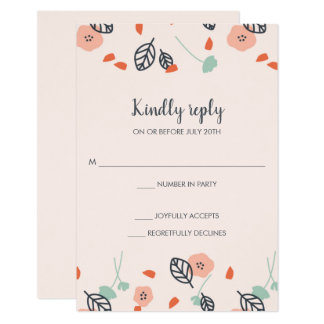 Simple Spring Floral Pink Wedding RSVP Reply Cards