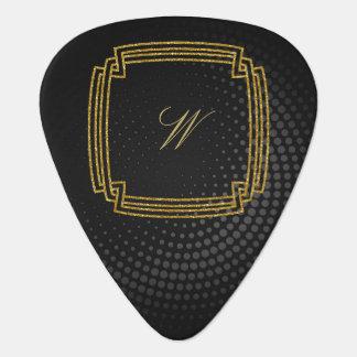Simple Square Monogram on Black Circular Guitar Pick