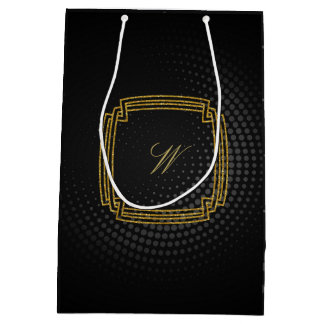 Simple Square Monogram on Black Circular Medium Gift Bag