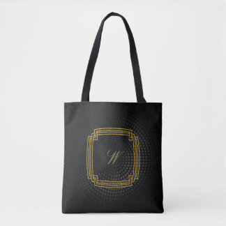 Simple Square Monogram on Black Circular Tote Bag