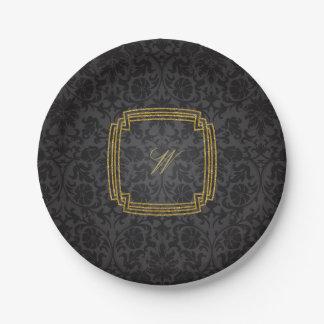 Simple Square Monogram on Black Damask Paper Plate