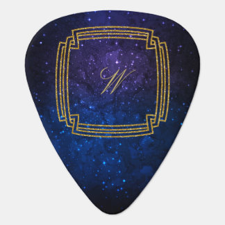 Simple Square Monogram on Blue Galaxy Guitar Pick