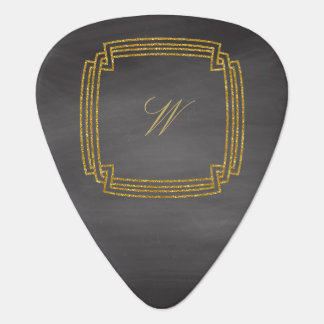 Simple Square Monogram on Chalkboard Guitar Pick