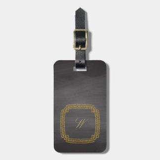 Simple Square Monogram on Chalkboard Luggage Tag