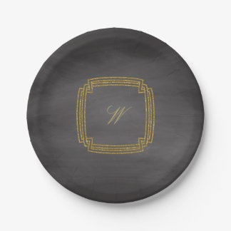 Simple Square Monogram on Chalkboard Paper Plate