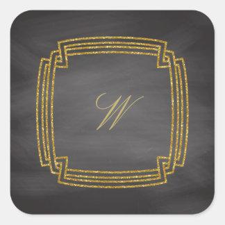 Simple Square Monogram on Chalkboard Square Sticker