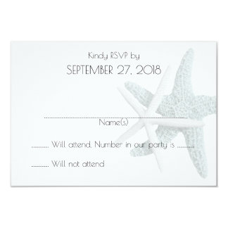 "Simple Starfish White Wedding Reply Cards 3.5"" X 5"" Invitation Card"