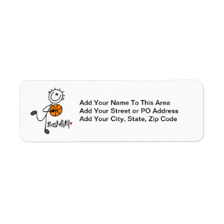 Simple Stick Figure Basketball T-shirts and Gifts Return Address Label