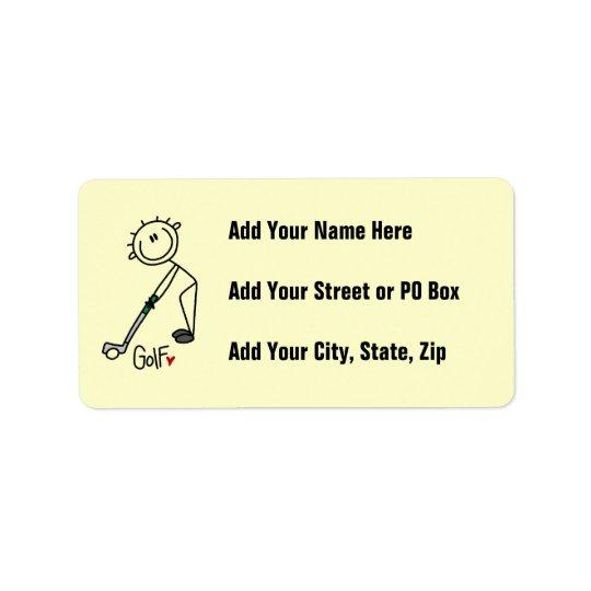 Simple Stick Figure Golfer Label
