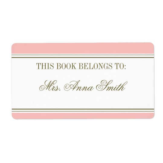 Simple Stripe Blush Pink Bookplate Shipping Label