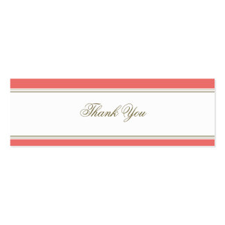 Simple Stripe Coral Favor Gift Tag Business Card Template