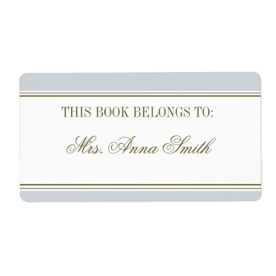 Simple Stripe French Blue Bookplate Shipping Label