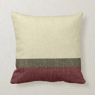Simple Stripes Weave Texture Khaki Green Burgundy Throw Pillow