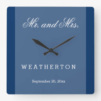 Simple Style Mr. and Mrs. Wedding Names and Date A Square Wall Clock