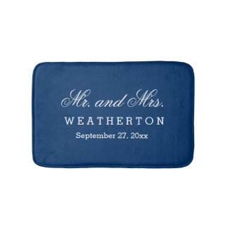 Simple Style Mr. and Mrs. Wedding Names Date A29 Bath Mat