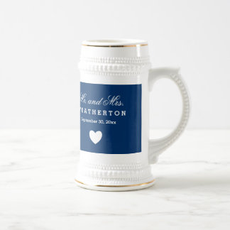 Simple Style Mr. and Mrs. Wedding Names Date B02C Beer Stein