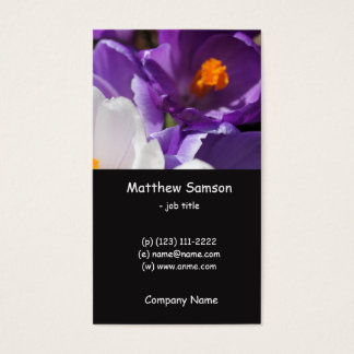 simple style, white and purple crocus flowers business card