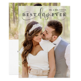 Simple Stylish Best Day Ever Photo Thank You Card