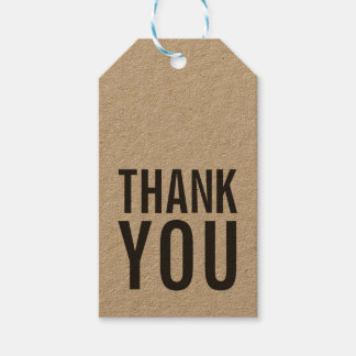 Simple Stylish Bold Rustic Thank You Kraft Gift Tags