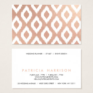 Simple stylish faux rose gold white ikat pattern business card