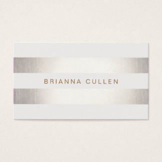 Simple Stylish FAUX Silver and White Striped Business Card