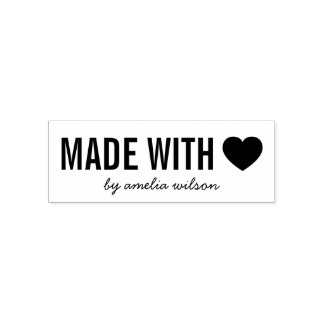 Simple Stylish Personalize Heart Made with Love Self-inking Stamp