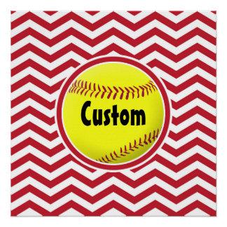 Simple Stylish Red & White Softball Custom Poster