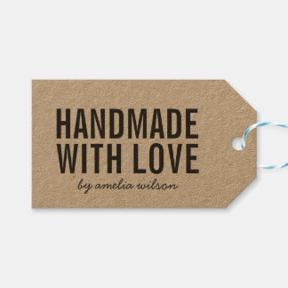 Simple Stylish Rustic Handmade with Love Kraft Gift Tags
