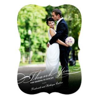 Simple Stylish Thank You Script Wedding Photo Card Custom Invites