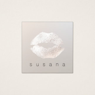 Simple Subtle Silver Kissing Lips Makeup Artist Square Business Card