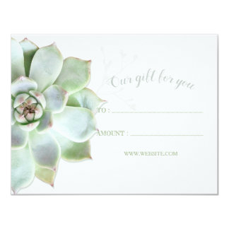 Simple Succulent Business Gift Certificates Card