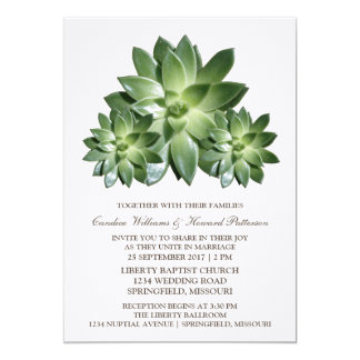 Simple Succulent Wedding Invite
