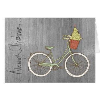 Simple & Sweet Grey Christmas Bike Card