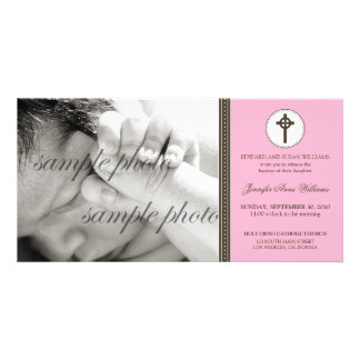 Simple & Sweet Pink Baptism Announcement Card