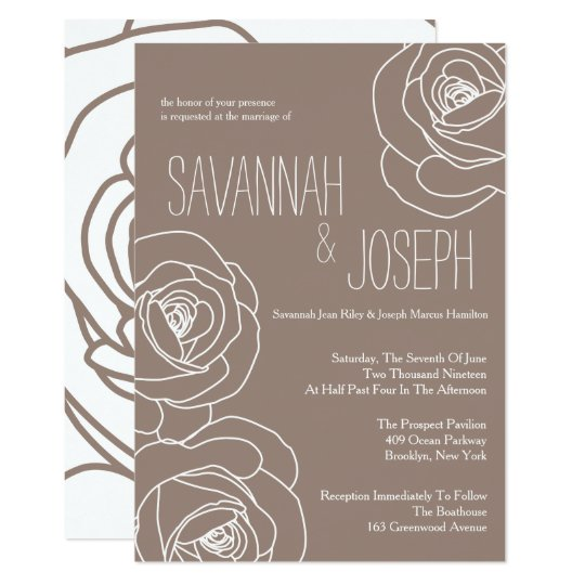 Simple Taupe Rose Wedding Invitations