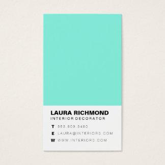 Simple teal block interior decorator professional business card